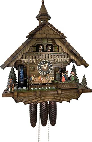 German Cuckoo Clock 8-day-movement Chalet-Style 20.00 inch – Authentic black forest cuckoo clock by H nes