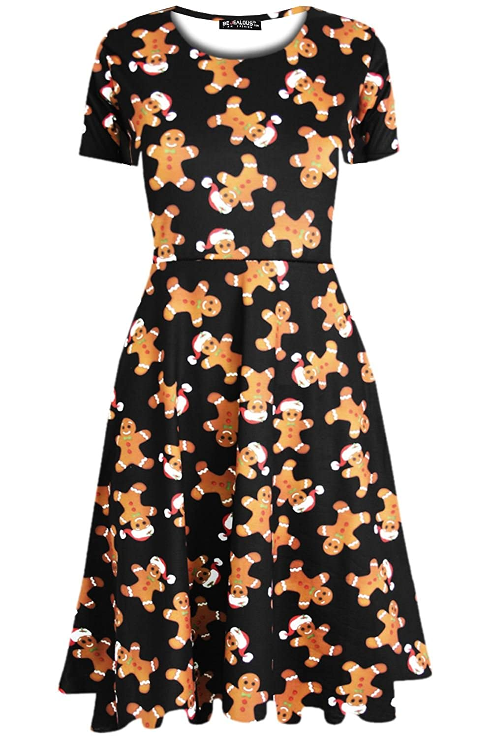 Fashion Star Oops Outlet Womens Ladies Reindeer Snowflake Christmas Santa  Penguin Xmas Pudding Gingerbread Midi Skater