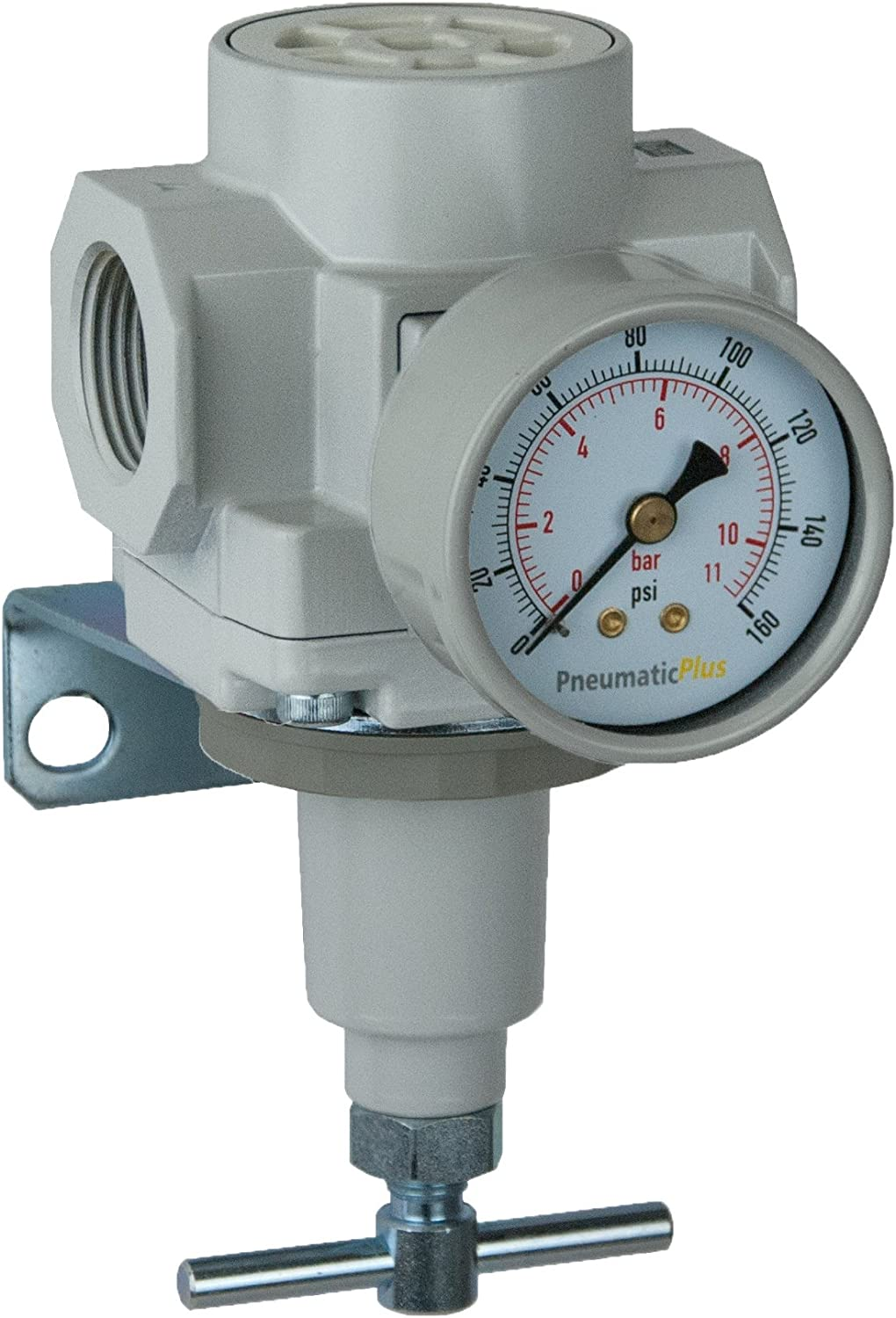 "PneumaticPlus SAR600T-N10BG Compressed Air Pressure Regulator 1"" NPT with Gauge & Bracket (T-Handle)"