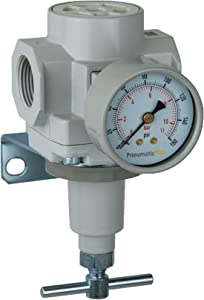 "PneumaticPlus SAR600T-N10BG Compressed Air Pressure Regulator 1"" NPT with Gauge & Bracket (T-Handle)"