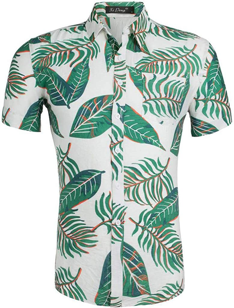Mens Shirts Turn-Down Collar 3D Color Print Casual Short-Sleeved Cotton Hawaiian Shirt