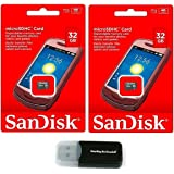 Sandisk 32GB (2 Pack) MicroSD HC 32G Flash Memory Card, Class 4 with Everything But Stromboli (tm) MicroSD Card Reader