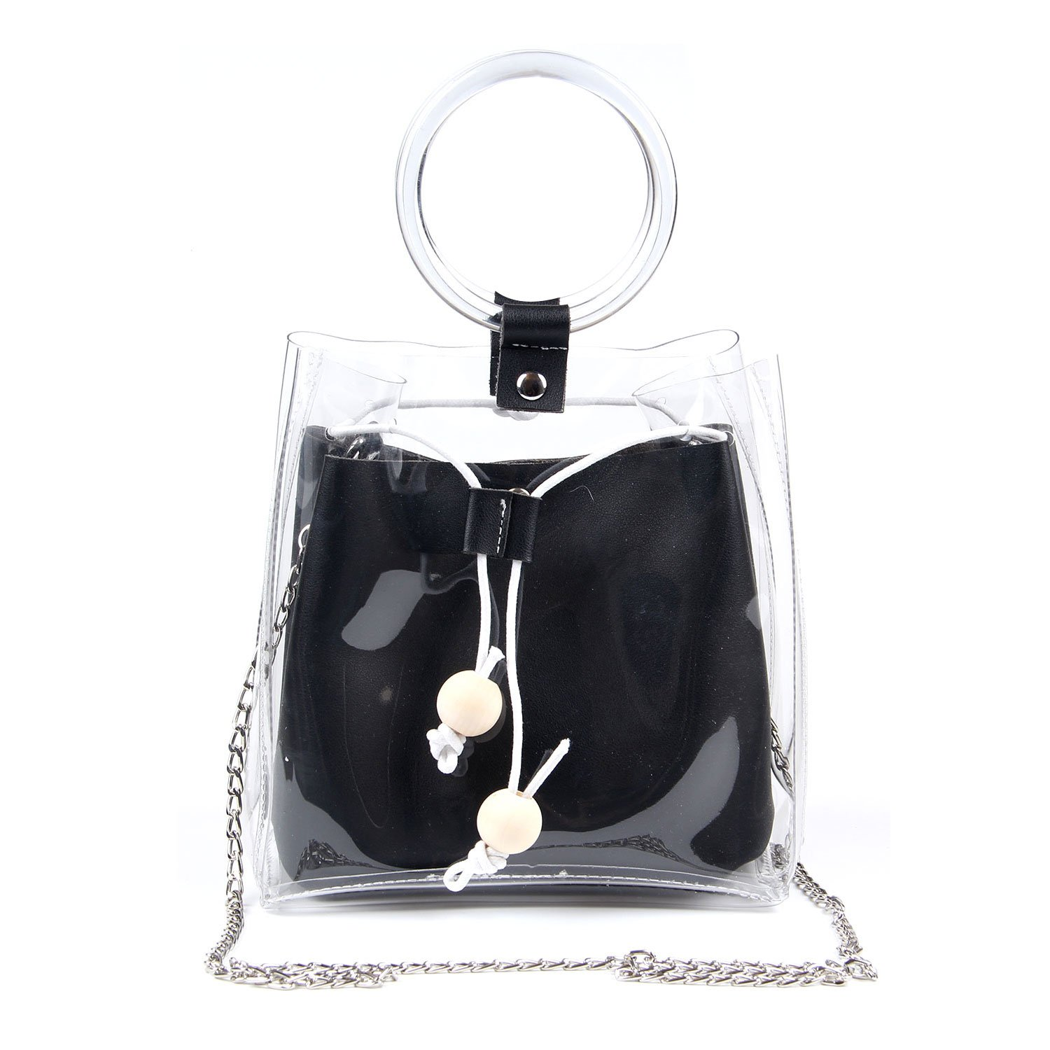 Women Stylish PU Leather Waterproof Clear Tote Shoulder Crossbody Bag