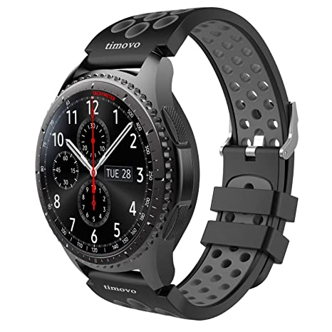 Amazon.com: timovo Gear S3 correa de reloj, perforado banda ...