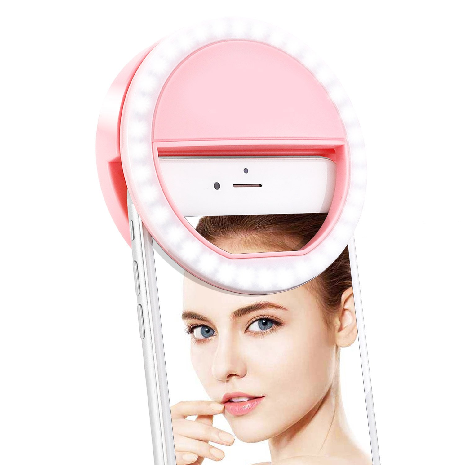 Fodizi Selfie Ring Light for Phone Camera [Rechargable Battery] [36 LED] Clip On Light Makeup Light Streaming Light for iPhone iPad Sumsung Galaxy Photography,Facebook Live Videos - Pink