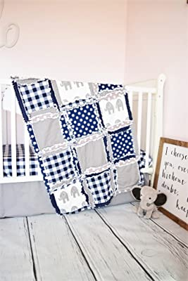 Elephant Crib Set - Gray / Navy - Safari Baby Bedding with Quilt, Skirt, Sheet