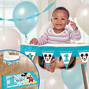 amscan 241592 1st Birthday Mickey Mouse High Chair Decorating Kit Party Supplies Mickey Fun to be One!, 1ct