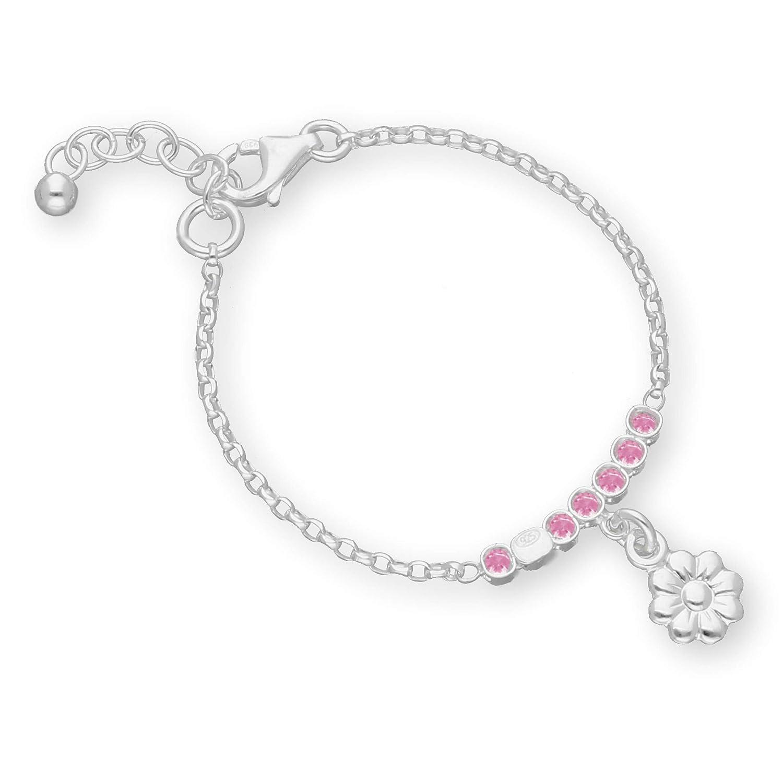 butterfly Fille Argent Bracelet 925 Fleur Rose Longueur Flexible Pochette /à Bijoux Cadeau Pour le Bapt/ême