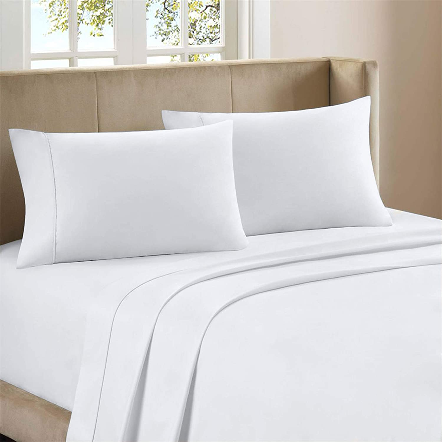 """300-Thread-Count Pure Organic Cotton Percale Sheet Set, Luxury 4 Piece White Full Size Sheets, Moisture Wicking, Cool Crisp & Breathable, Patented Fitted Sheet Fits Upto 18"""" Deep Pocket - Purity Home"""
