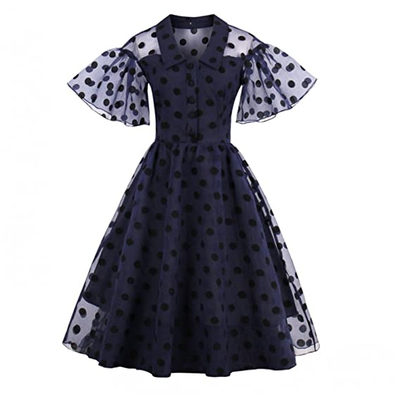 NEW Vintage Dress Lapel Ball Gown Retro Pinup Summer Dress Vestido Women Black Polka Dot Party