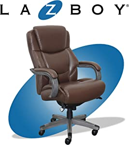 La-Z-Boy Delano Big & Tall Executive Office Chair | High Back Ergonomic Lumbar Support, Bonded Leather, Brown with Weathered Gray Wood |
