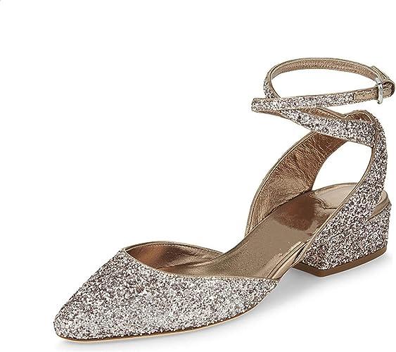 Sandalias de tacón bajo para Mujer, Zapatos de Mujer
