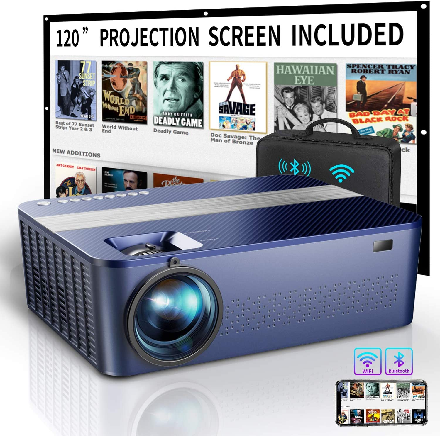 "WIFI Native 1080P Projector with 120"" Projector Screen &Bag,7500Lux HD Bluetooth Projector with 400""Display,4K Projector for Outdoor Movies Support 4K Dolby & Zoom,Compatible with Phone,PC,TV Box,PS4"