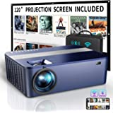 """WiFi Bluetooth Native 1080P Projector Includes 120"""" Projector Screen & Bag,9000Lux HD Projector 4K with 450"""" Display,Outdoor"""