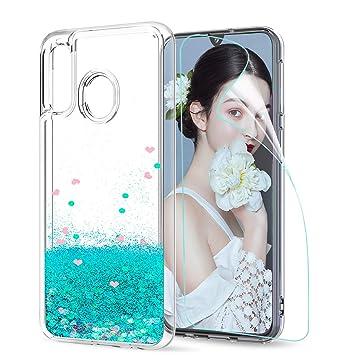 LeYi Compatible with Funda Samsung Galaxy A40 Silicona Purpurina Carcasa con HD Protectores de Pantalla Transparente Cristal Bumper Telefono Gel TPU ...