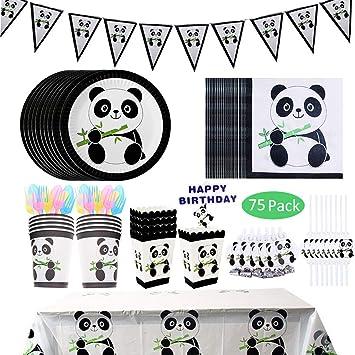 Baby Shower Tovaglioli con Panda Piatti di Carta 10 Ospiti Bicchieri Cannucce Tovaglia Amycute 75 Pezzi Forniture per Feste di Compleanno Panda per Bambini Festa di Compleanno Striscioni