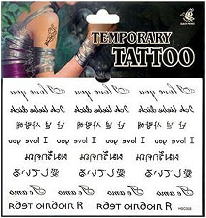 5 hojas de tatuajes temporales, resistentes al agua, diseño de ...