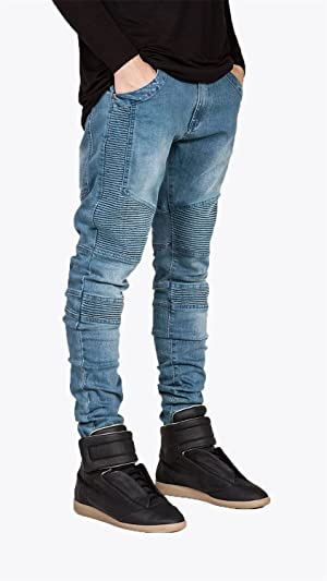 HiJames56ca casual pants for men relaxed fit black fashion biker jeans cotton street style skinny men jeans motorcycle Blue 28