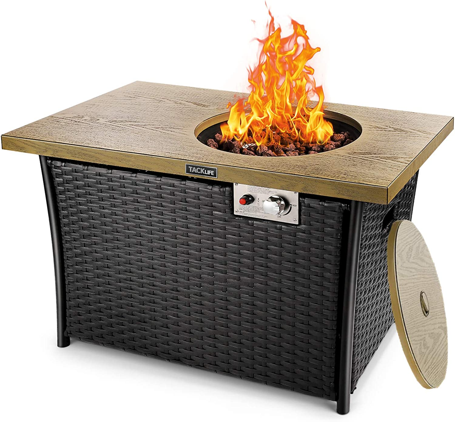 Amazon Com Tacklife 50 000 Btu Propane Gas Fire Pit Table Steel Imitation Wood Grain Surface With Weather Resistant Lid Lava Rock Etl Certification Pure Artificial Rattan Design 41in Fireplace For Outdoor Garden