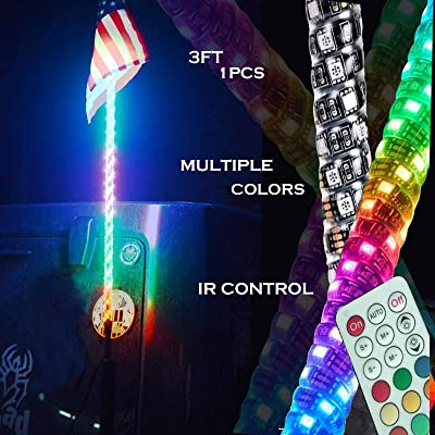 3FT Dancing LED Whip Lights w/Flag 360° Twisted for Offroad Jeep Polaris RZR UTV ATV Sand Dune Buggy Quad Truck Boat: Automotive [5Bkhe0409226]