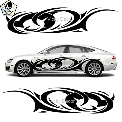 Vicky decor car side sticker crs028 black full body glossy finish size 80inch x 19