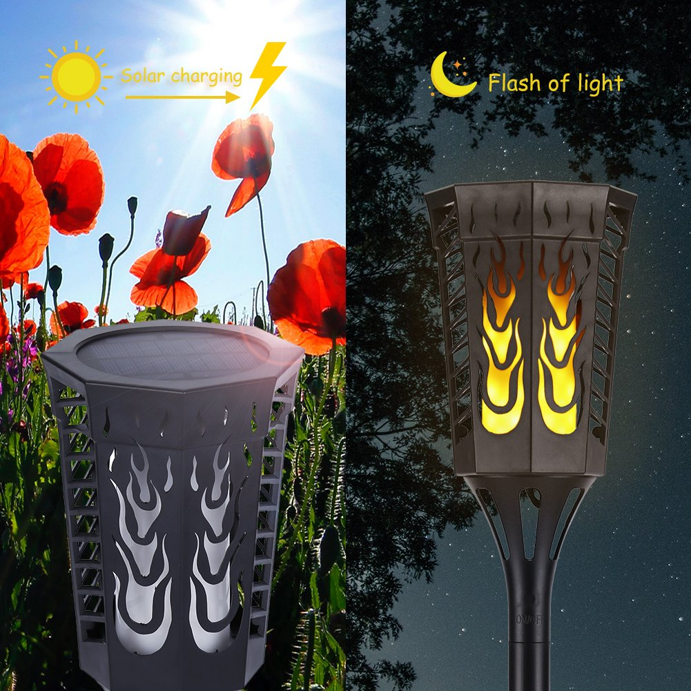 Slopehill Solar Lights Outdoor with 96 LED Solar Light, Outdoor Decor Waterproof Dancing Flame Torch Lights, Decoration Lighting for Garden, Patio, Deck, Yard, Path, Driveway, 2 Pack by Slopehill (Image #4)
