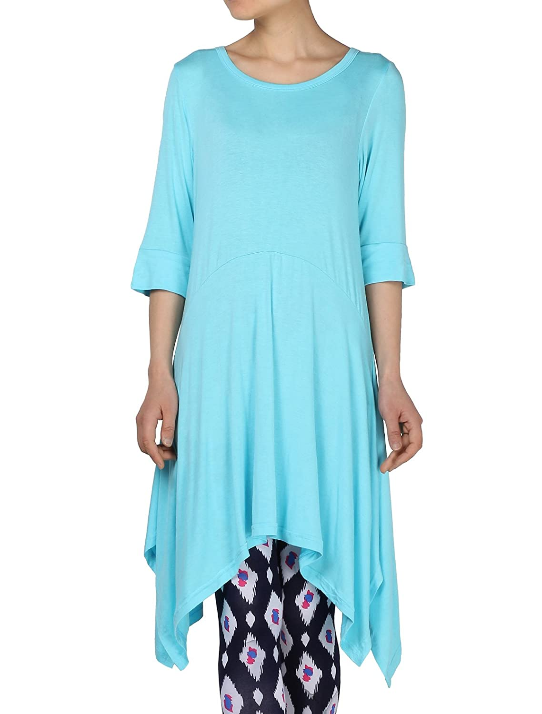 Mordenmiss Women's Handkerchief Hem Tunic Tops Basic Shirt 12 Colors Size S-4XL CMS1706