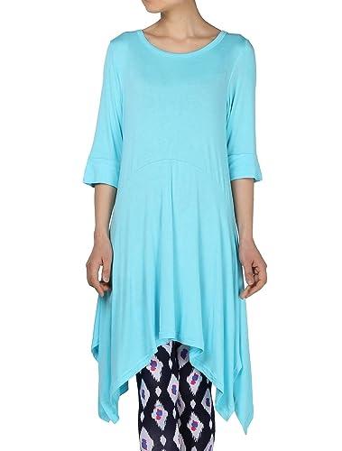 Mordenmiss Women's Handkerchief Hem Tunic Tops Basic Shirt 12 Colors Size S-4XL