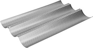 Redxiao 【???????????????????????? ???????????????? ????????????????】 Silver Baguette Baking Tray, High Efficiency French Bread Baking Pan, Food‑Grade Stainless Steel for Bakery Home(Three Slots)