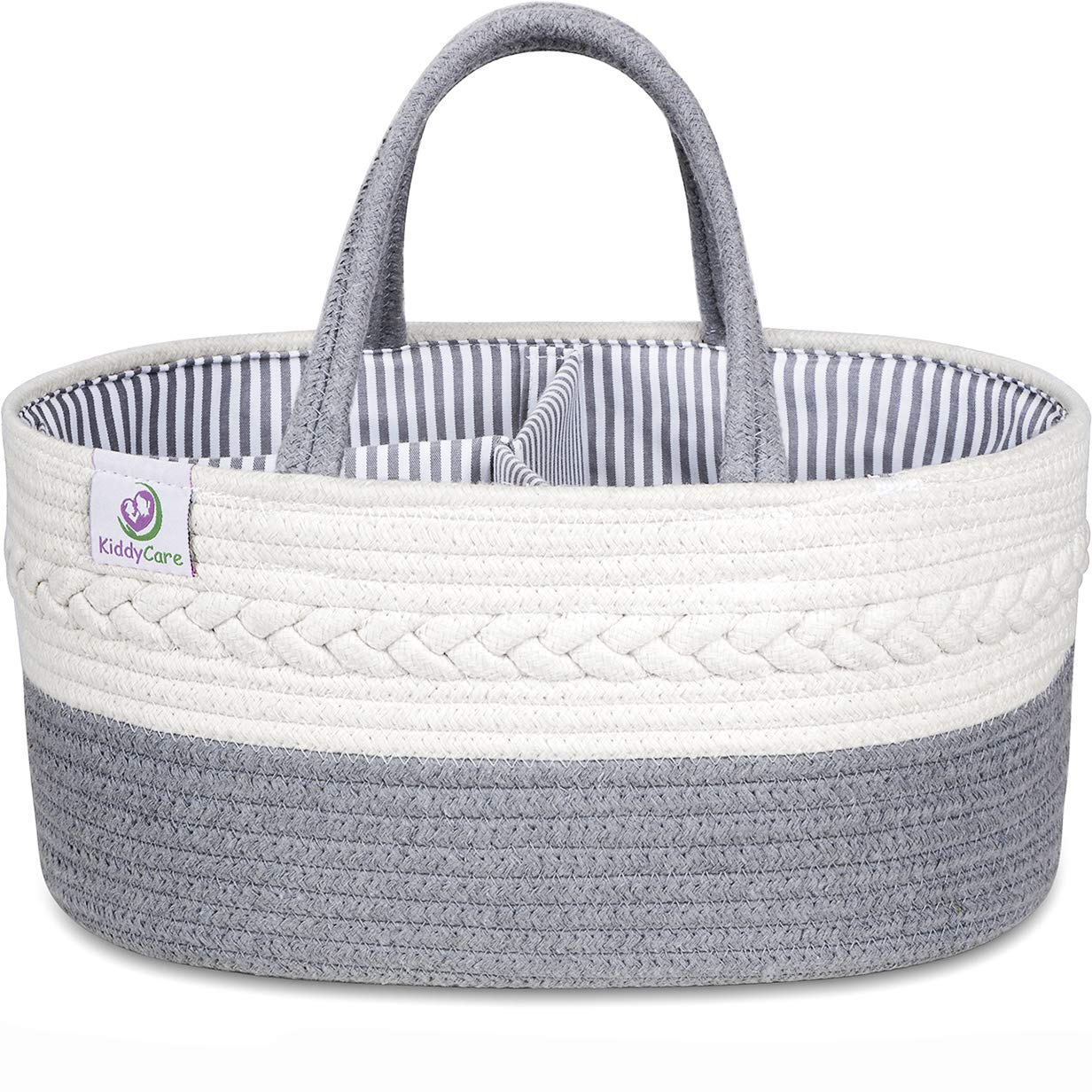 KiddyCare Baby Diaper Caddy Organizer - Stylish Rope Nursery Storage Bin - 100% Cotton Canvas Portable Diaper Storage Basket for Changing Table & Car - Top Baby Shower Gift for Boys & Girls by KiddyCare