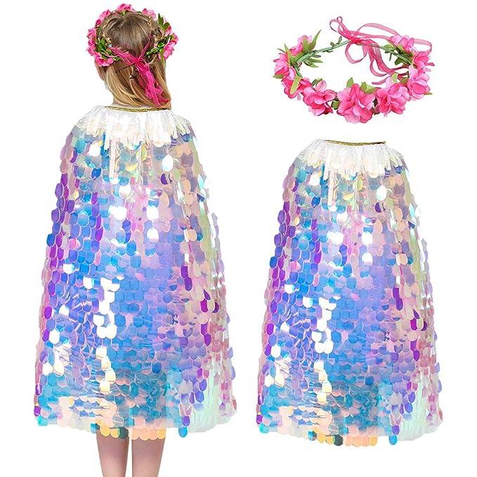 Amazon.com: Ropa para niña, disfraz de sirena brillante ...