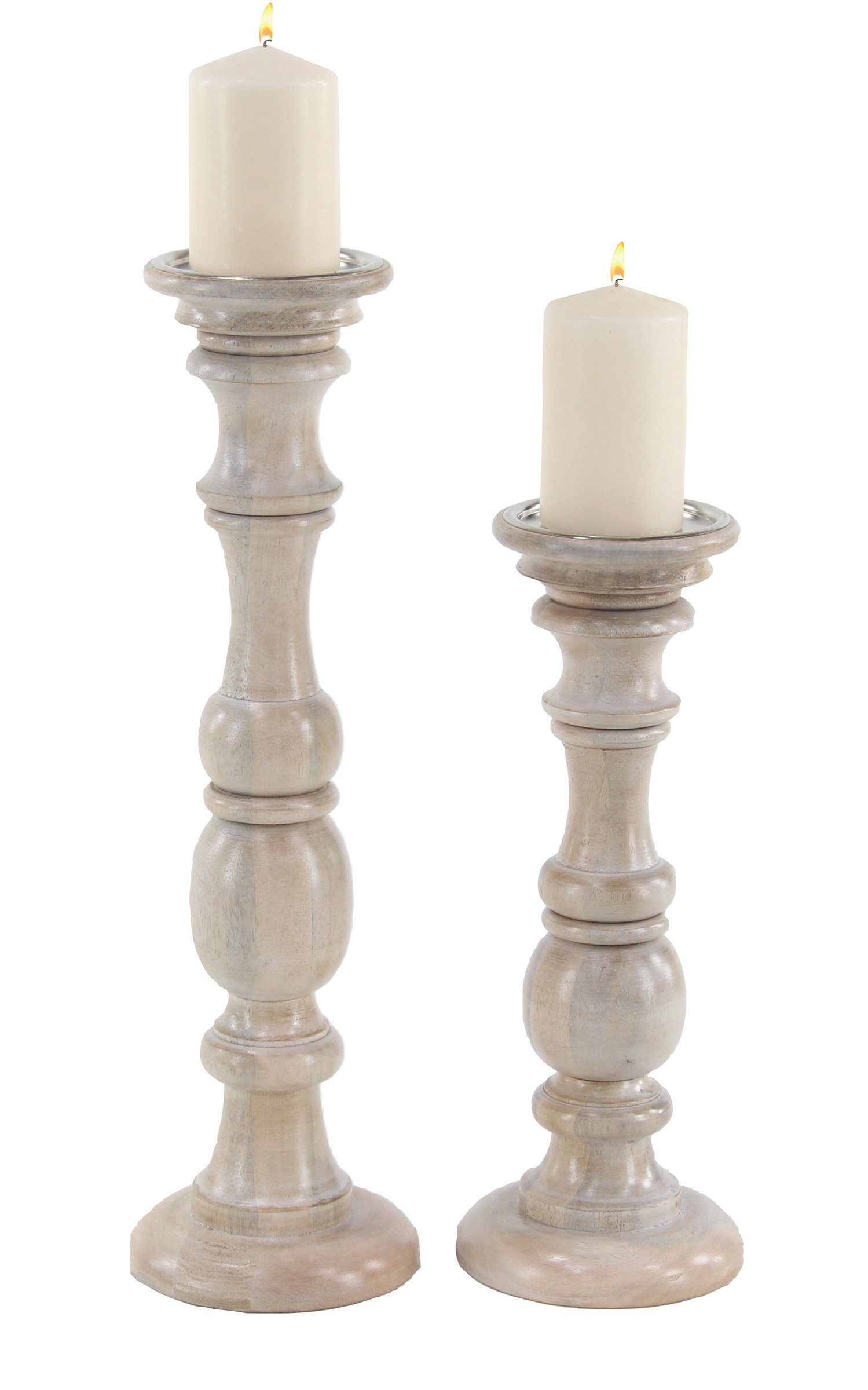 Ten Waterloo Set of 2 Wood Pillar Candle Holders, 21 Inches and 16 Inches High
