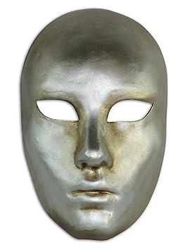 Máscara veneciana completa Volto Metallo para hombres y mujeres (plateado)