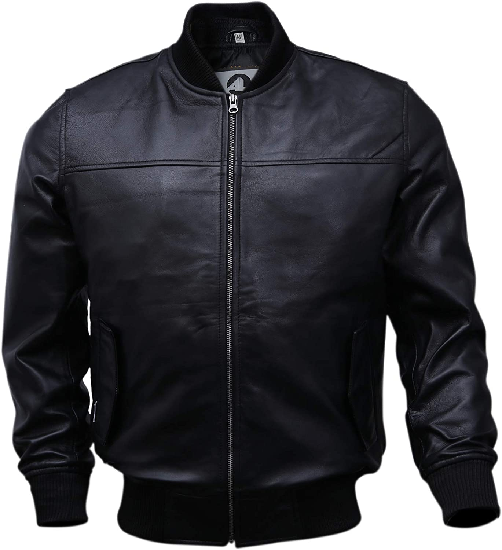Genuine Lambskin Baseball Flight Jacket Varsity Bomber Leather Jacket Men