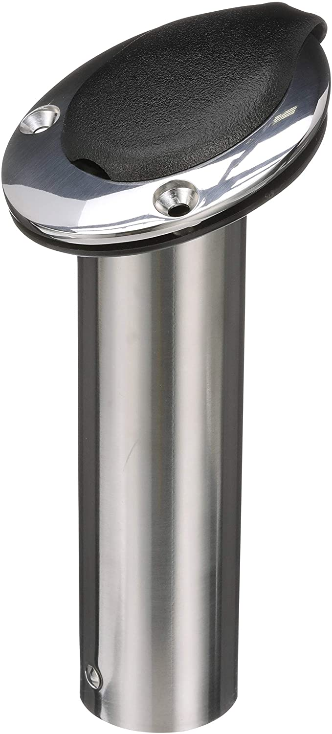 Details about  /316 Stainless Steel Deluxe Rod Holders w// Drain /& Cap Flush Mount 90 Degree