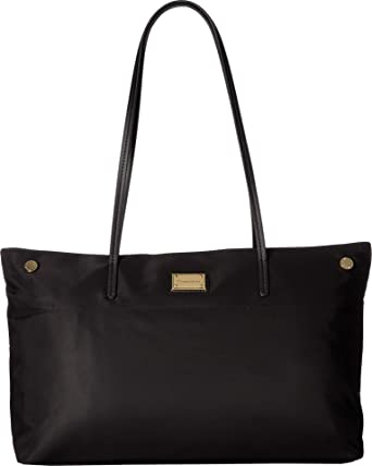 1ffe360bf09 Calvin Klein Women's Teodora Dressy Nylon Tote Black/Gold 2 One Size