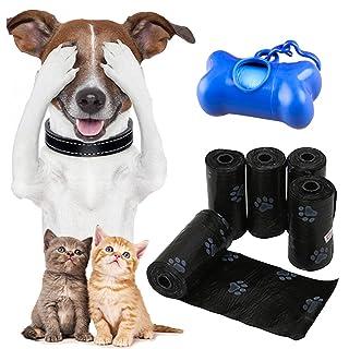 Pveath Bolsas de Basura para Perros, 20 Rollos / 300 Unidades, Bolsas de Entrenamiento para Perros biodegradables, Bolsa de Basura con dispensador de Bolsas de Basura, Color Negro