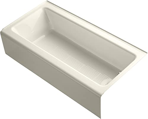 KOHLER 838-47 Bellwether 60 x 30 Alcove Bath with Integral Apron, Tile Flange and Right-Hand Drain, Almond