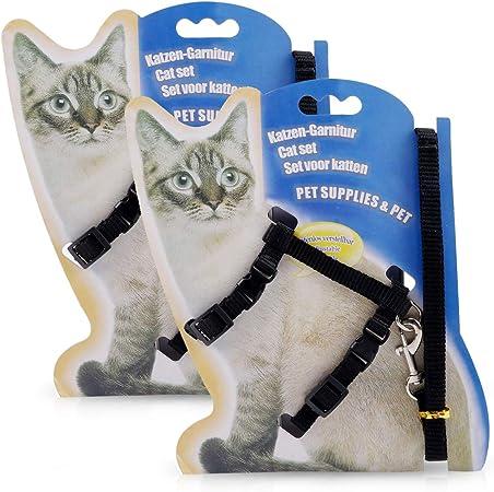 PETCUTE Arnés para Gatos con Correa Chaleco Ajustable para Gatos 2 Piezas Juego de arneses y Correa para Gatitos: Amazon.es: Hogar