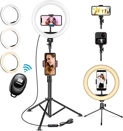 10 Makeup Selfie Photography Ring Light 10 with Stand /& Double Holder for YouTube Video Desktop Led Ring Light for Streaming