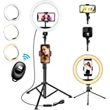 """U PHITNIS 10"""" Selfie Ring Light with 63"""" Stand Ring LED Light with Phone Holder Dimmable for Live Stream/Tiktok/YouTube/Video"""