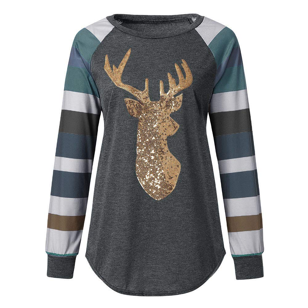 829f0281db0 Clearance Forthery Womens Casual Stripe Christmas Reindeer Sequin T Shirt  Blouse Tops at Amazon Women's Clothing store: