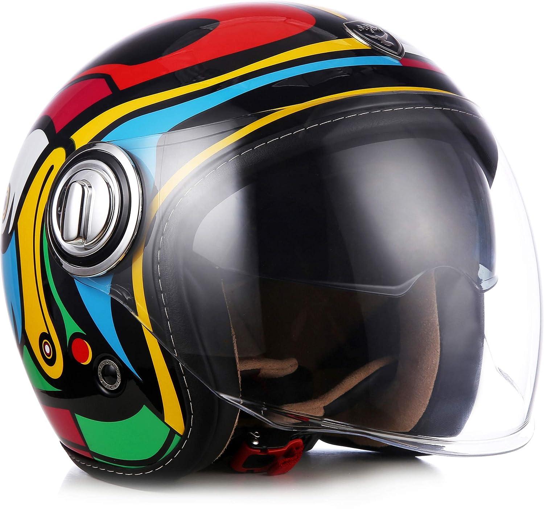 "Soxon® SP-888 ""Night"" · Jet-Helm · Motorrad-Helm Roller-Helm Scooter-Helm Bobber · ECE Sonnenvisier Schnellverschluss SlimShell Tasche M (57-58cm) Soxon Germany"