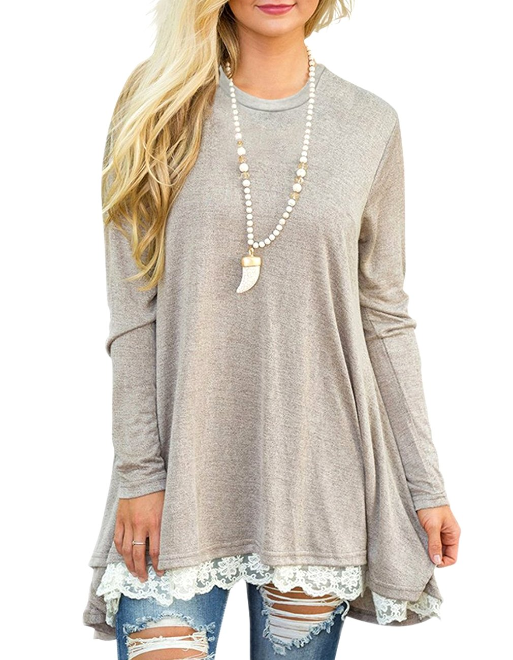 Miskely Women's Long Sleeve Lace Tunic Tops Round Neck Loose Blouse Casual Swing Cotton T-Shirt for Leggings (L, Light Khaki)