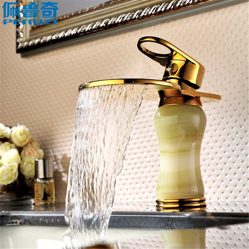 Lalaky Taps Faucet Kitchen Mixer Sink Waterfall Bathroom Mixer Basin Mixer Tap for Kitchen Bathroom and Washroom Brass Waterfall Jade Hot and Cold Antique gold
