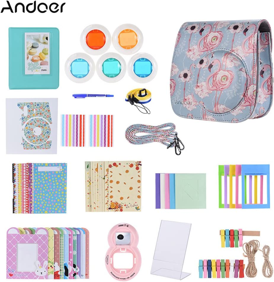 Andoer 14 in 1 Accessories Kit for Fujifilm Instax Mini 9/8/8+/8s with Camera Case/Strap/Sticker/Selfie Lens/5*Colored Filter/Album/3 Kinds Film Table Frame/10*Wall Hanging Frame/40*Border