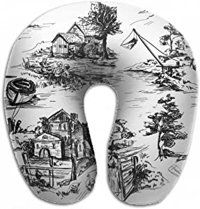 Emvency U-Shaped Travel Neck Support Pillow Classic Pattern Old Town Village Airplane 12x11.5 Inch Soft U-Pillows with Rebound Material for Kids Adults