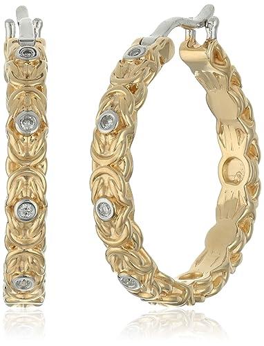 c1b24fa3a8946 Amazon.com: Yellow Gold Plated Sterling Silver Diamond Byzantine ...