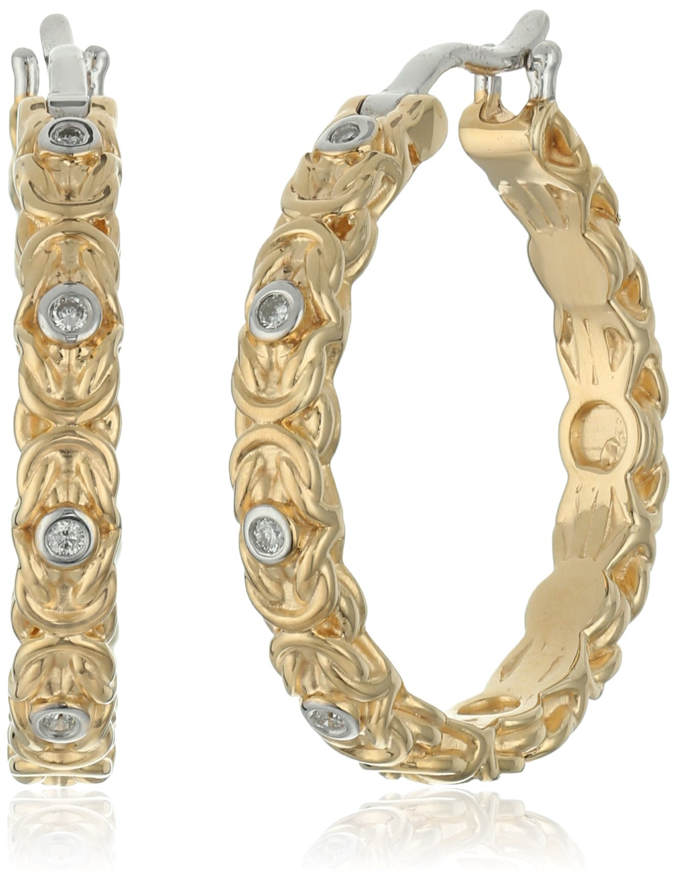 Yellow Gold Plated Sterling Silver Diamond Byzantine Hoop Earrings
