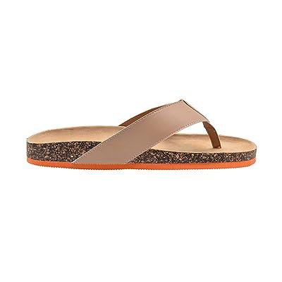 Amazon.com | Gold Toe Mens Footbed Sandal Flip Flop Slide with Contrast Color Sole Slip On Shoe | Sandals
